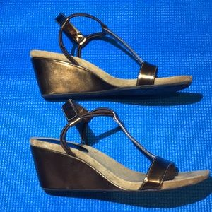 Style & Co Shoes - Style & Co brown metallic wedges. Lightly worn.